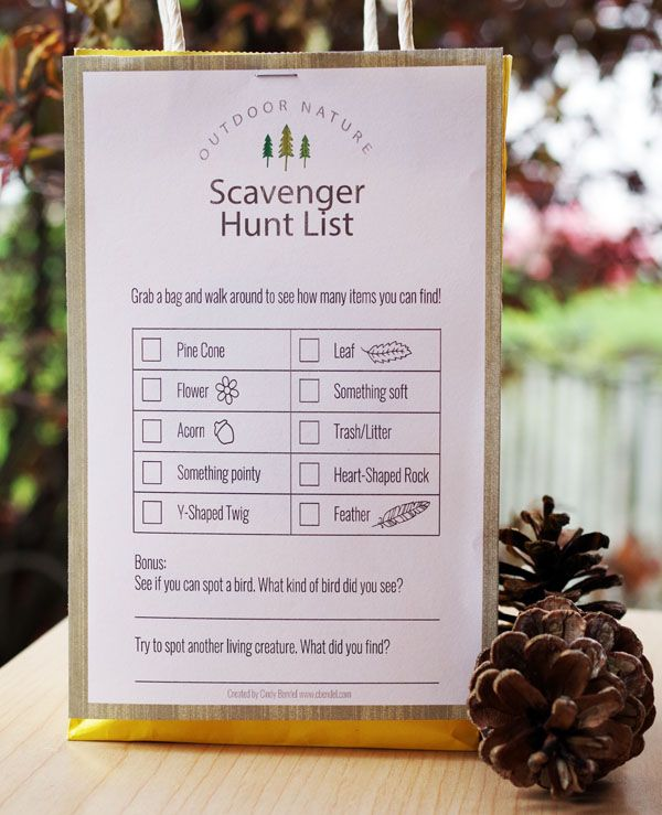 Birthday Party Ideas for an outdoor nature theme. Download our free printable scavenger hunt list!