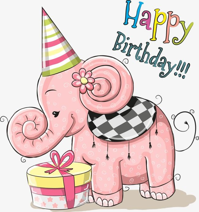 Pink Elephant Birthday Cards Vector Material Free Download Happy Birthday Elephant Happy Birthday Clip Art Happy Birthday Cards