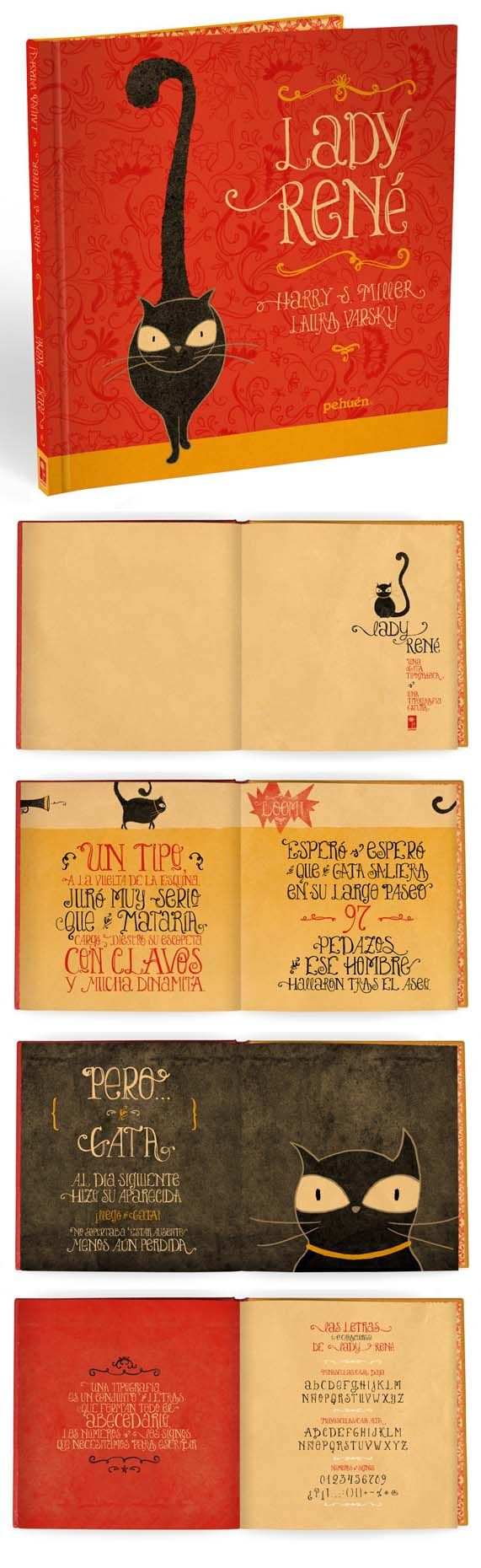 Laura Varsky - Lady Rene beautiful illustrated children's book about a cat and handmade typography