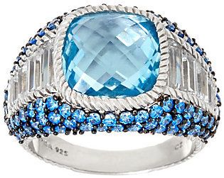 Judith Ripka As Is Sterling Blue Topaz & Pave' Ring