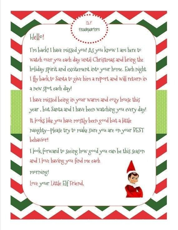 Elf On The Shelf Letter Template Download Word Elf On The Shelf