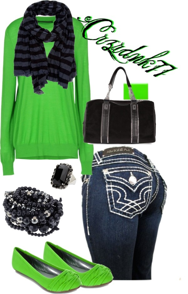 """""""Neon Green and Black"""" by crzrdnk77 on Polyvore .... Herbalife style ... Minus the jeans though"""
