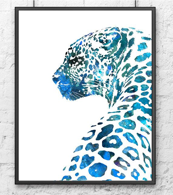 Animal Art Watercolor Painting Print Leopard, African Animal Painting, Blue Home Decor Wall Art Watercolor Animal – 533