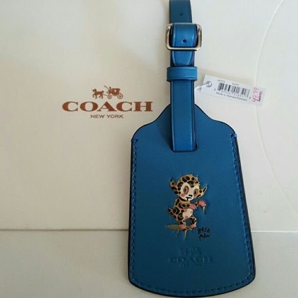 Coach X BASEMAN LUGGAGE TAG New Coach X baseman leather luggage tag #64723 Color is peacock. Rare, sold out in stores. New with tags. Coach Accessories