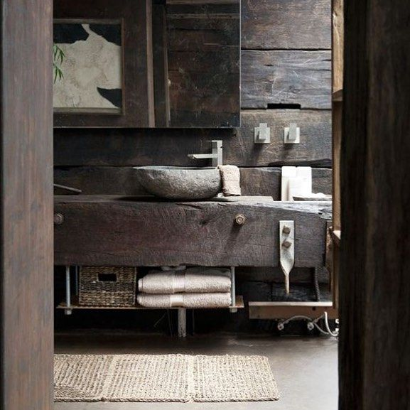 zuri home styling by steph ~Raw-Rustic-Luxe~ Love this rustic bathroom #rustic #raw #timber #luxe #bathroom #stonesink #textures #tones #concretefloor