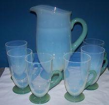FRY FOVAL JADE OPALESCENT 7 PIECE LEMONADE SET - PITCHER & SIX HANDLED GLASSES