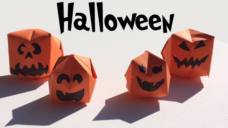 Halloween pompoenen vouwen - FUN: origami Halloween pumpkins crafts - YouTube