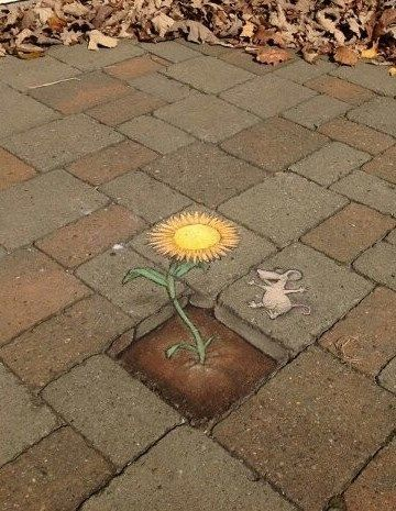 Chalk street art by David Zinn