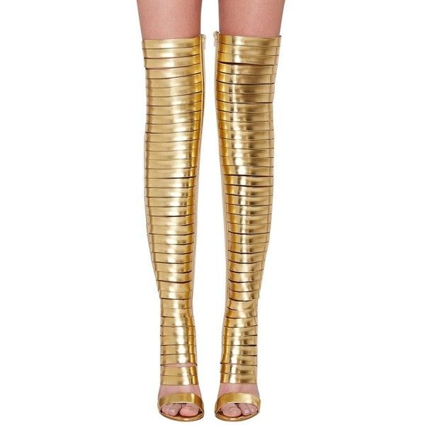 Onlymaker Women's Fashion High Heel Over-knee Boots Gold Open Toe... ($44) ❤ liked on Polyvore featuring shoes, open toe high heel shoes, open toe shoes, yellow gold shoes, wide fit gold shoes and high heeled footwear