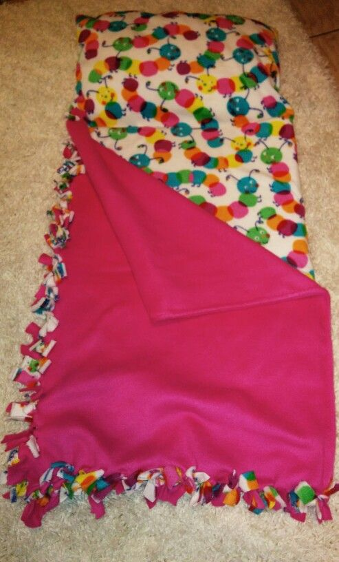 """Aria's """"Snuggle Bug"""" nap mat. Just fleece and foam to make. I sewed a pillow on the end, but this can definitely be a no-sew project."""