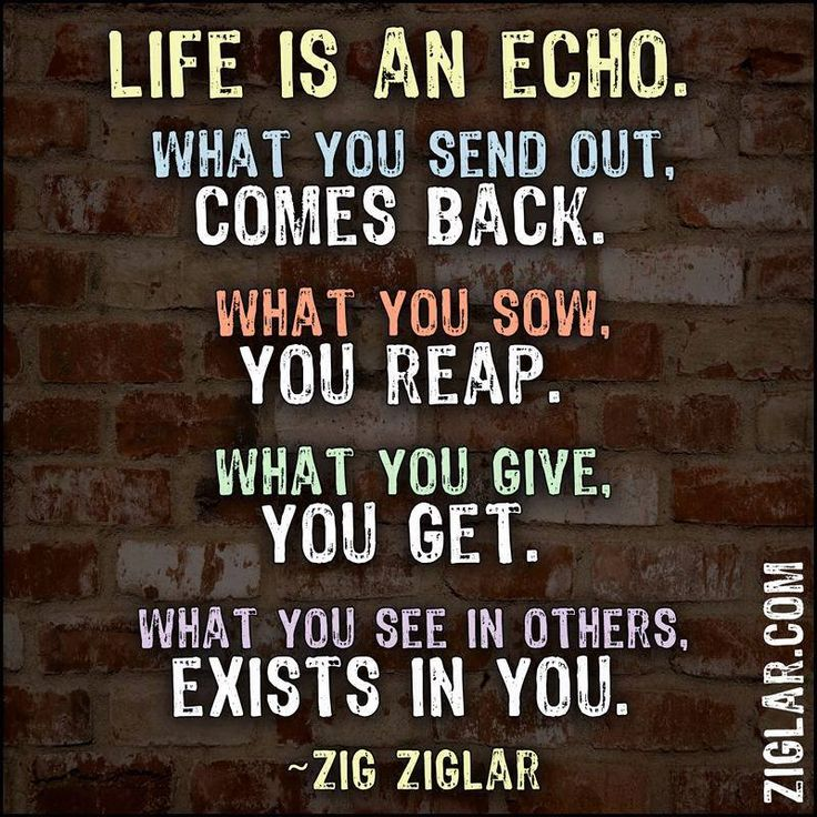 Life Is An Echo. What You Send Out, Comes Back. What You Sow, You Reap.  What You Give, You Get. I Say This All The Time, You Reap What You Sow.