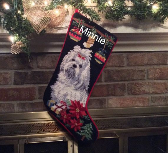 Maltese personalized needlepoint christmas stocking for Personalized dog christmas stocking