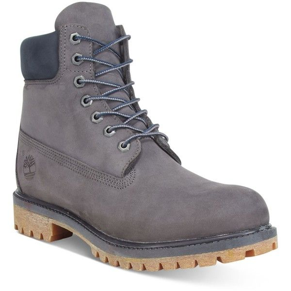 """Timberland Men's 6"""" Premium Waterproof Boots ($190) ❤ liked on Polyvore featuring men's fashion, men's shoes, men's boots, men's work boots, grey, mens water proof boots, mens gray boots, timberland mens work boots, mens waterproof work boots and mens waterproof boots"""