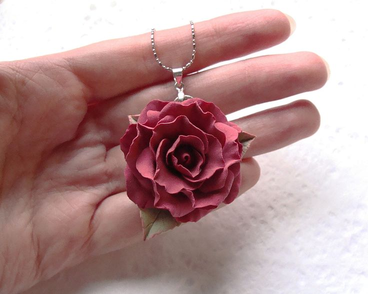 """Polymer clay red rose pendant """" Flamenco"""". Polymer clay jewelry"""