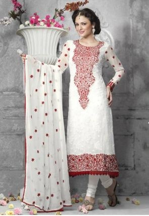 White Poly Georgette Salwar Suit