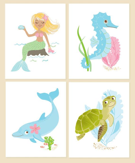 "Custom prints for our baby girl's ""Under the Sea"" bathroom. Check out SeaUrchin Studio's shop on Etsy!"