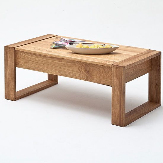 victor coffee table in rough sawn oak with lift function solid wood