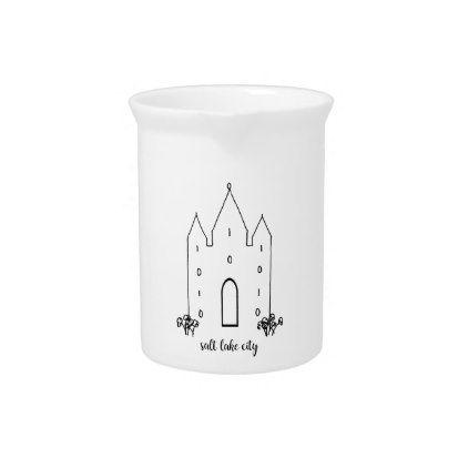 salt lake city utah temple simple modern pitcher - wedding decor marriage design diy cyo party idea