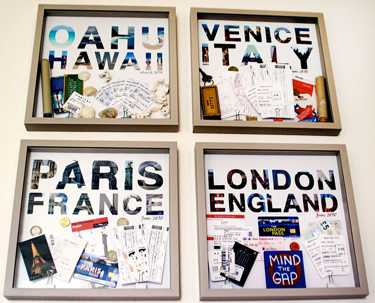 Save maps, tickets, and pictures from abroad to create travel memory wall art, great for an office.