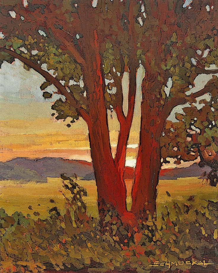 Mission Arts and Crafts CRAFTSMAN - Matted Giclee Art Print Day's End Sunset 11x14 by Jan Schmuckal.