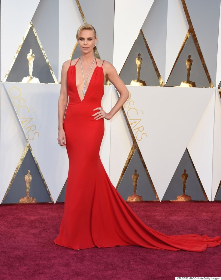 Charlize Therons Oscars 2016 Gown Is Red Hot