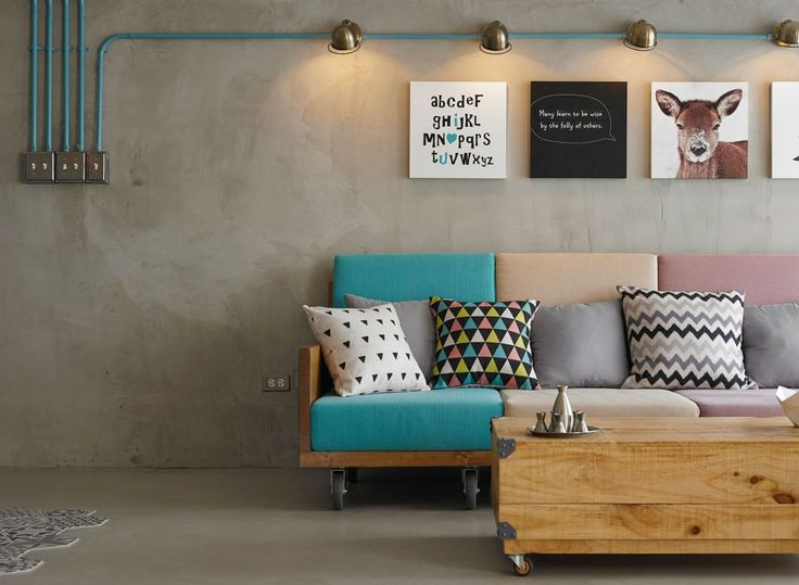 Residence Hu by KC Design Studio / sala de estar / living room / cor / instalação aparente / concreto