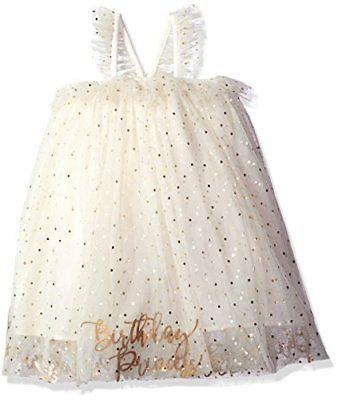 Mud Pie Baby Girls' Birthday Dress Ivory/Gold 12Months-5Toddler