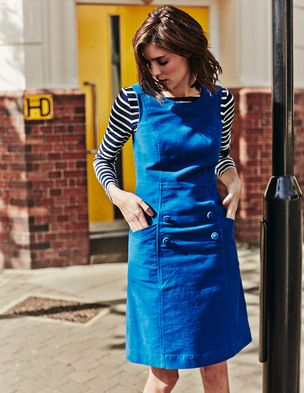 Lovely Boden denim pinafore. Like the princess seams, pockets, button detail