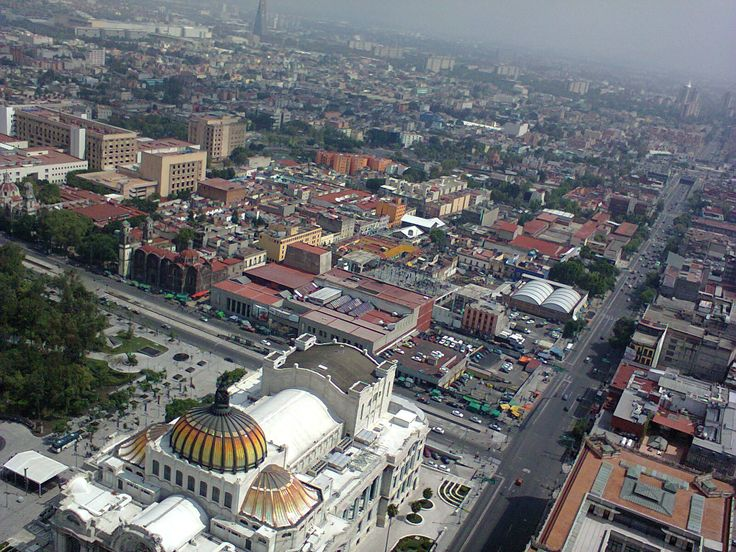 """""""Techo del Palacio de Bellas Artes y ciudad, desde el mirador de la Torre Latinoamericana"""", foto 18"""