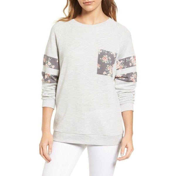 Caslon Print Detail Pocket Sweatshirt (Petite) ($20) ❤ liked on Polyvore featuring tops, hoodies, sweatshirts, grey, petite, long sleeve tops, floral print tops, crewneck sweatshirt, grey sweatshirt and gray sweatshirt