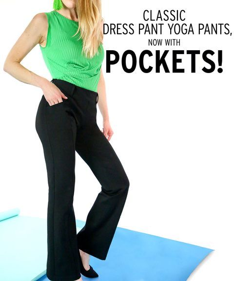 ecc80020e Boot-Cut | Two-Pocket Dress Pant Yoga Pants (Black) | Black Boot-Cut ...
