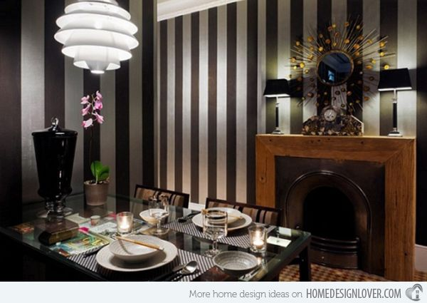 Striped wall accents in 15 dining room designs striped for Design room x resa