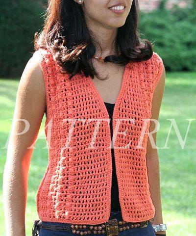 Easy Crochet Vest Pattern   Misti Alpaca Crochet Open Weave Vest Pattern - Cotton & Silk - Alpaca ...