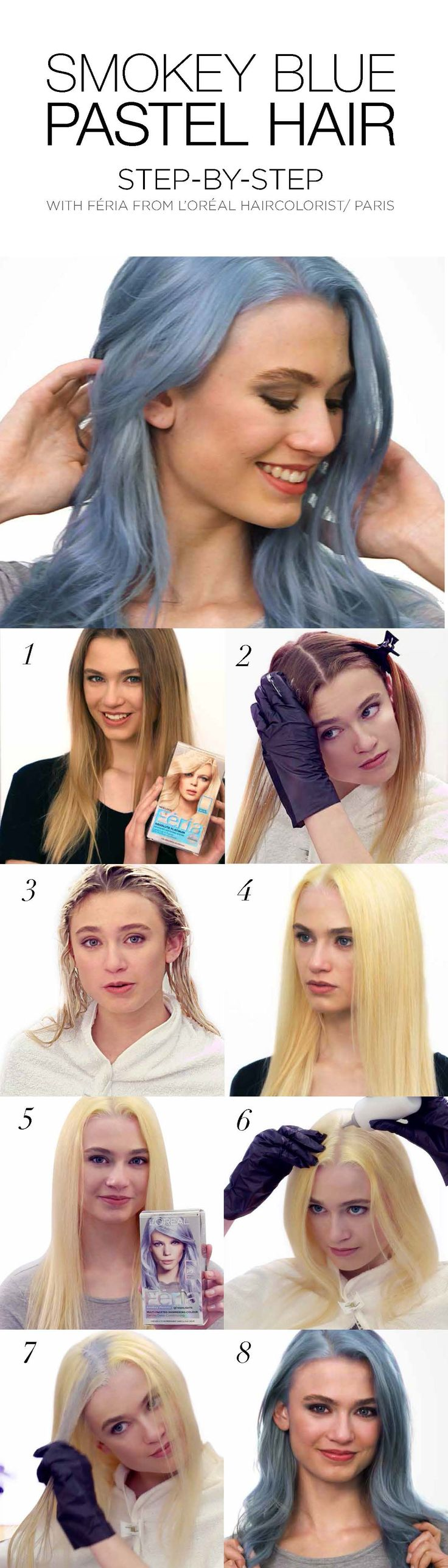 DIY Pastel hair color: How to dye hair blue at home using Feria Smokey Pastels. If hair is darker, start by pre-lightening with Feria Extreme Platinum. Apply Pastels 14 days later.