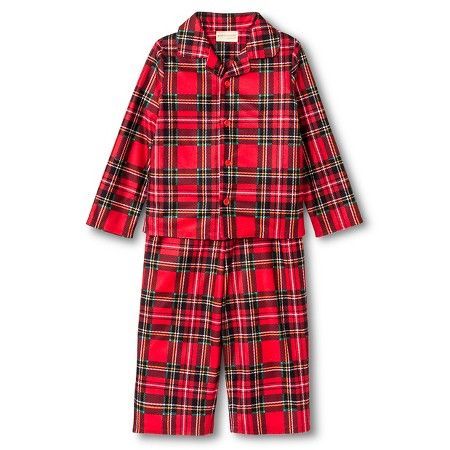 Toddler Boys' St. Eve Peas & Carrots Plaid Button Up Long Sleeve 2-Piece Pajama Set Red : Target