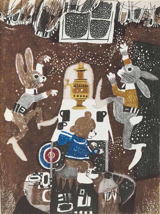 Polish Children's Illustration  Illus. by Zbigniew Rychlicki for Zaczarowane kółko Misia Uszatka, 1970  From the collection of Hipopotam