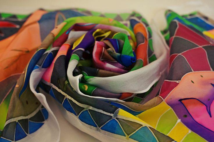Handmade painted scarves 150x40cm 25eur