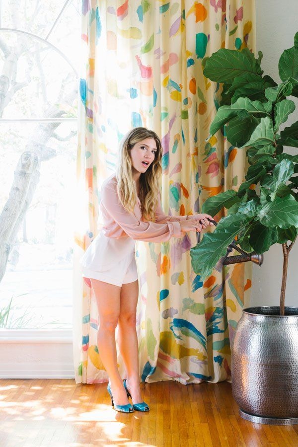 "DIY Watercolor Curtains! This project, as featured in my book ""A Hot Glue Gun Mess,"" can elevate boring curtains into colorful pieces of art. Find out how, and give your home this multicolored makeover!"
