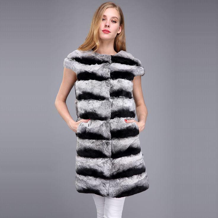 >> Click to Buy << Real rex rabbit fur vest chinchila rabbit fur waistcoat women natural fur long design plus size  #Affiliate