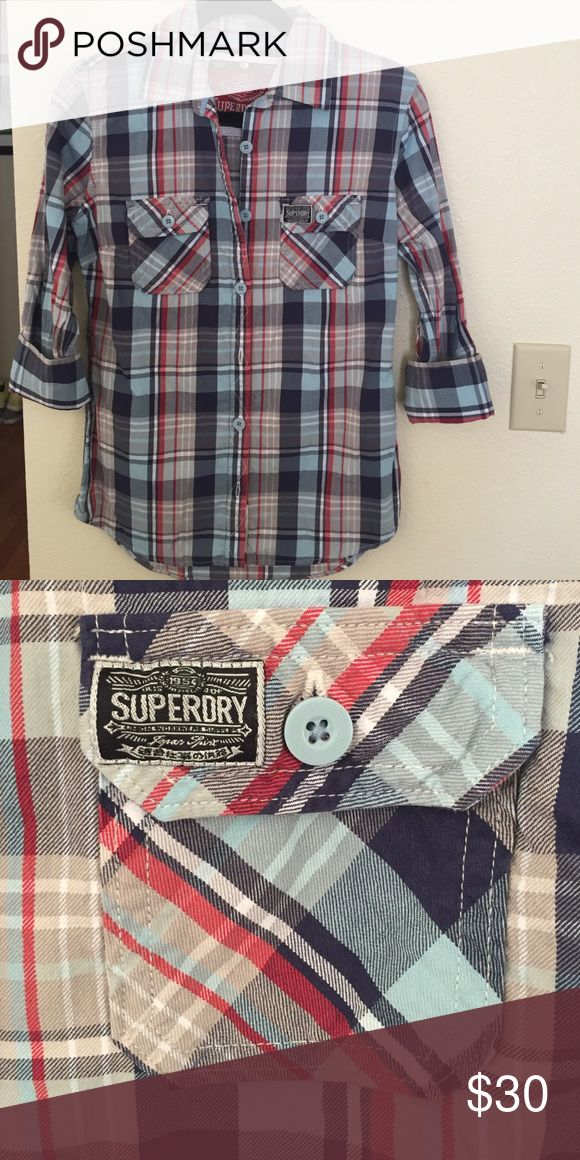 Superdry button down Blue checkered button down by Superdry. This shirt has only been worn once!! Like new! Check closet for similar listing of shirt with tags. Superdry Tops Button Down Shirts