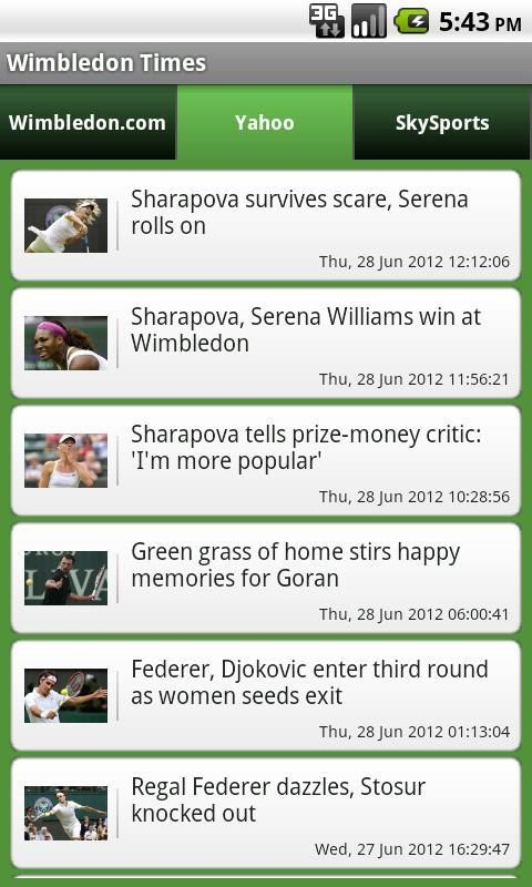 Get the Wimbledon championship in your pocket !! <br/><br/>Get all the news updates and feeds for the year's biggest Tennis event. <br/><br/>Key Features : <br/><br/>- News feeds from the official Wimbledon website, SkySports and Yahoo.com<br/><br/>- Horizontal swipe for easy navigation between news articles<br/><br/>- A complete Wimbledon news application, that keeps you up to date will all the latest Wimbledon events.<br/><br/>DISCLAIMER :  I do not own any of the content in the app…