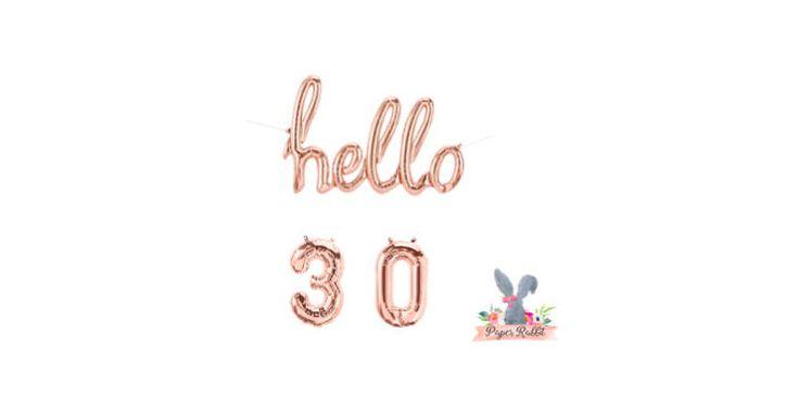 Hello 30 Rose Gold Script Balloon. Hello Balloon. 30TH Birthday Party. Birthday Party Decorations.Rose Gold Balloon.Hello 30 Balloon Banner by PaperRabbit87 on Etsy