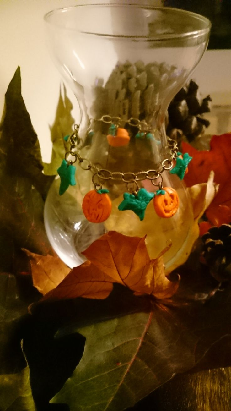 Halloween Jack - o Lantern Pumpkin and Ivy bracelet - handcrafted by TheForbiddenMarket on Etsy
