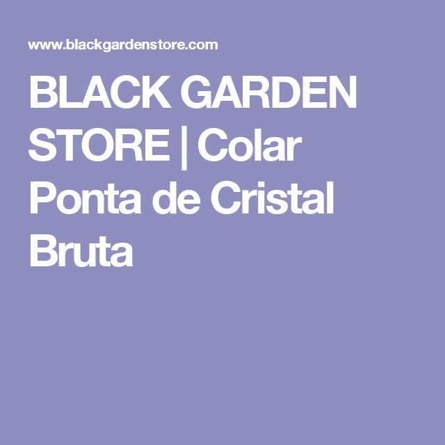 BLACK GARDEN STORE | Colar Ponta de Cristal Bruta