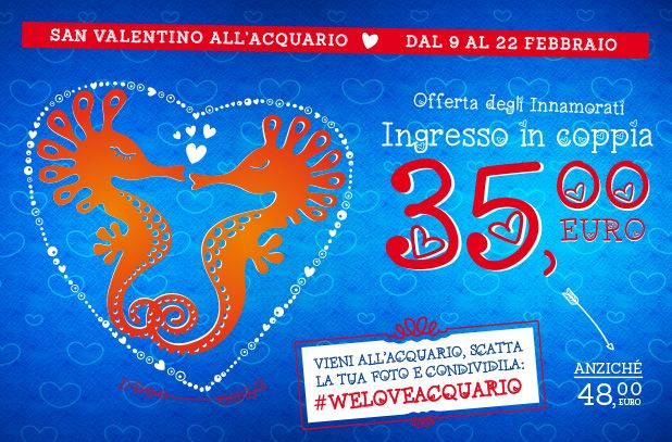 From 9 to February 22 2015, couples can take advantage of a special Valentine's day promotion: the price for visiting the Acquario di Genova will be € 35 each couple instead of € 48.   #AcquariodiGenova #AcquarioVillage #lovenature  #love_nature #love_genova #aquarium #Genoa #travel #leisure #tempolibero #viaggi #famiglia #weekend