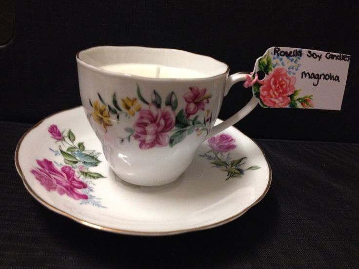 Magnolia vintage teacup candle