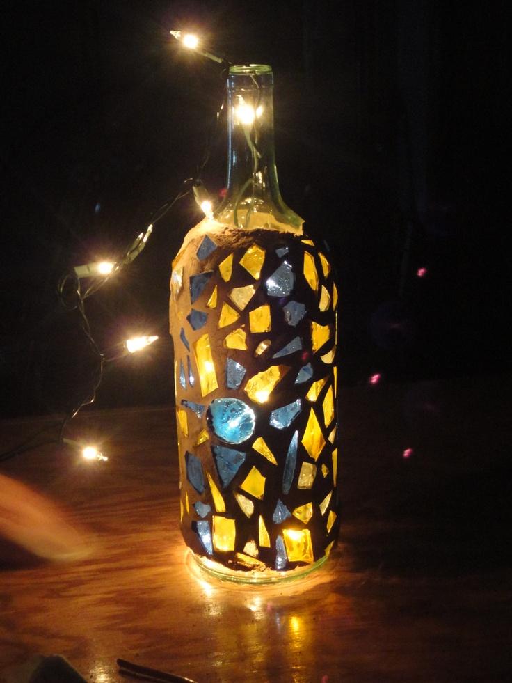 Mosaic wine bottle w lights I made