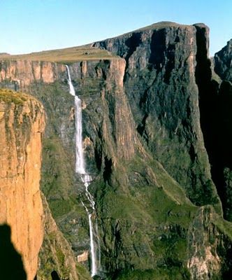 Tugela Falls is the world's second highest waterfall - the total drop in five free-leaping falls is 948 metres (3,110 feet) - they are located in the Drakensberg (Dragon's Mountains) in the Royal Natal National Park in KwaZulu-Natal Province Republic of South Africa ...