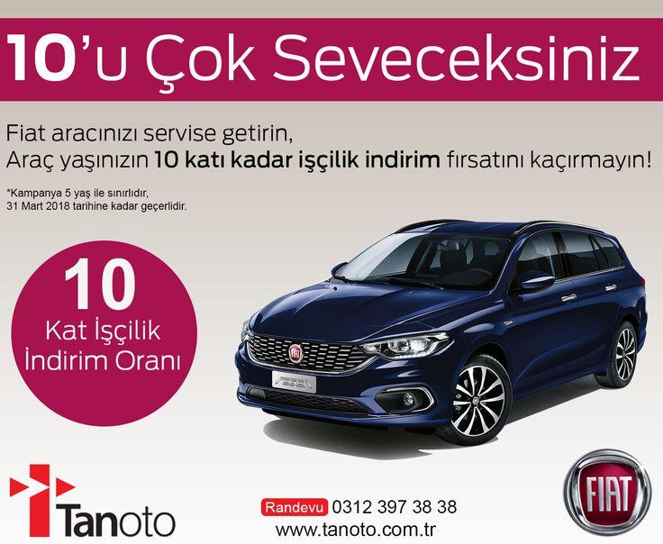 10'u Çok Seveceksiniz Fiat aracınızı servise getirin,  Araç yaşınızın 10 katı kadar işçilik indirim fırsatını kaçırmayın!  *Kampanya 5 yaş ile sınırlıdır,  31 Mart 2018 tarihine kadar geçerlidir. Randevu için 0312 397 38 38 numarayı arayabilirsiniz. www.tanoto.com.tr #Tanoto #Fiat #kampanya