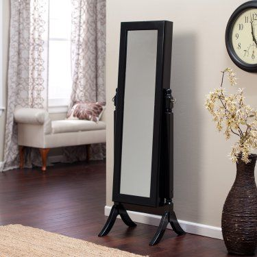 Heritage Jewelry Armoire Cheval Mirror - High Gloss Black